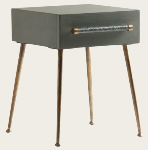 Tables by Chelsea Textiles seen at ROOST Midtown, Philadelphia - Bedside Table One Drawer and Wicker Handles