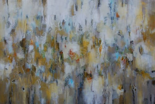 "Paintings by Christina Doelling, Abstract Artist seen at Avalon, Alpharetta - ""Woven Metallics"" 