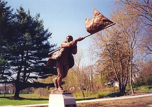 """Public Sculptures by Bruce Papitto seen at 158 Great Rd, Bedford - """"The Patriot"""""""