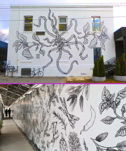 Murals by Jeff Blackburn seen at 41 Dovercourt Rd, Toronto - The Plant