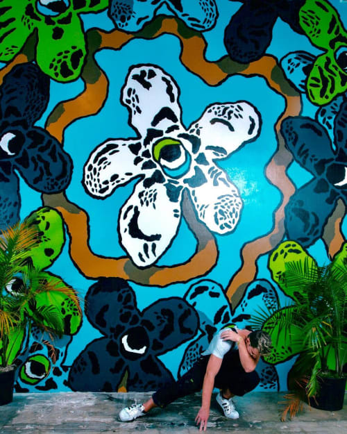 Murals by Cooper seen at Cannabinoid Water, Miami - Wildflowers Mural