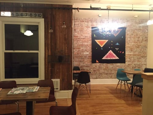 """Wall Hangings by Joey Veltkamp seen at Anchored Ship Coffee Bar, Seattle - """"Are we real?"""" Quilt"""