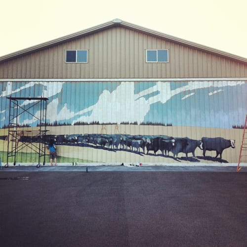 Murals by Zachary Hixson seen at Private Residence, Wallowa - Ranch Mural