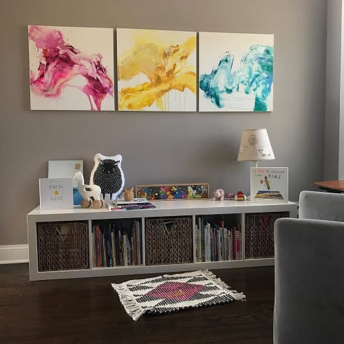 Paintings by Rebecca Stern at Private Residence, Redding - Colors Triptych