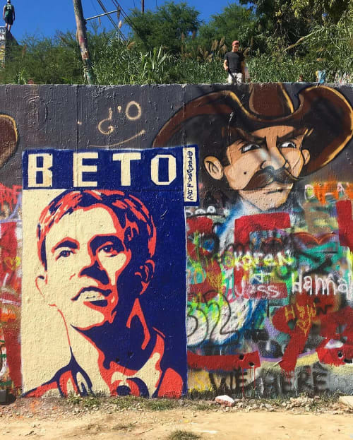 Street Murals by FeeBee Art seen at HOPE Outdoor Gallery, Austin - Beto