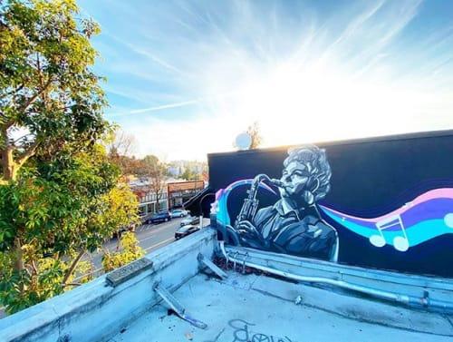 """Street Murals by Darin seen at Lake Merritt, Oakland - """"Jazz Hands"""""""