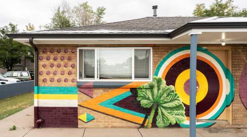 Murals by Katy Casper seen at 1450 N Lamar St, Lakewood - Wild Urban Medicine: Mallow