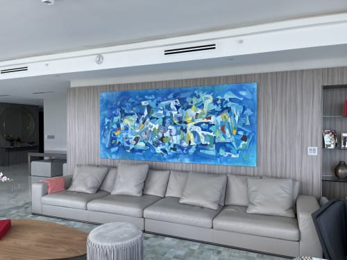 Art Curation by Isabel Brinck seen at Private Residence, Sunny Isles Beach - Painting for a stunning Sunny Isles apartment