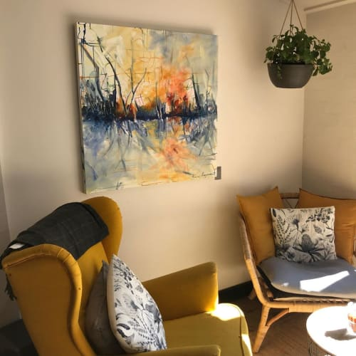 Paintings by Ann Rayment seen at Dolphin Point, Dolphin Point - Fire on the Bay