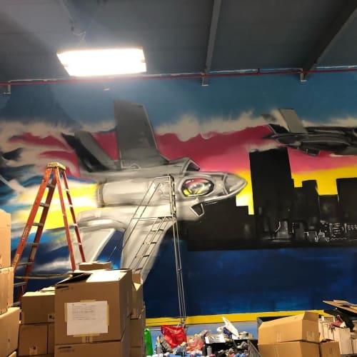 Murals by Nicholai Khan seen at S&L Aerospace Metals, LLC, Queens - mural