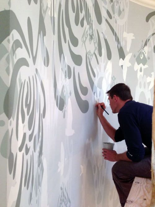 Murals by Julie W Chang seen at Private Residence, San Francisco - Chrysanthemum Flock