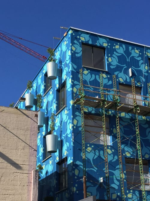Murals by Michael Paulus seen at 850 SE 3rd Ave, Portland - Hand-painted pattern design. Tree Farm Office Building