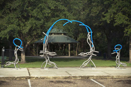 Public Sculptures by Matt Babcock seen at Cuba Hunter Park, Jacksonville - Song of the Skinks