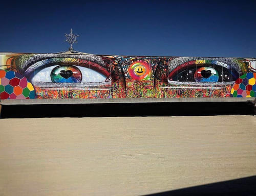 Street Murals by Chor Boogie seen at Black Rock City - Eyes of the Burning Man