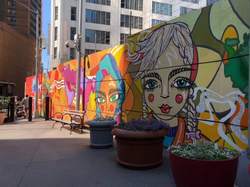 Street Murals by Chinon Maria seen at World Trade Center, New York - Faces
