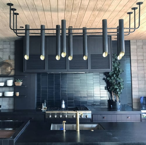 Chandeliers by Buzzell Studios seen at Private Residence, Newport Beach - Brass 3in Blackened Tubes Chandelier Cropped With 9 Bulb