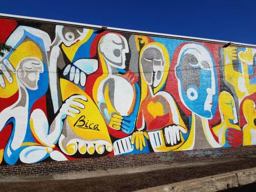 Street Murals by Sorin Bica seen at 16 Concord St, Framingham - Front Door Framingham Mural