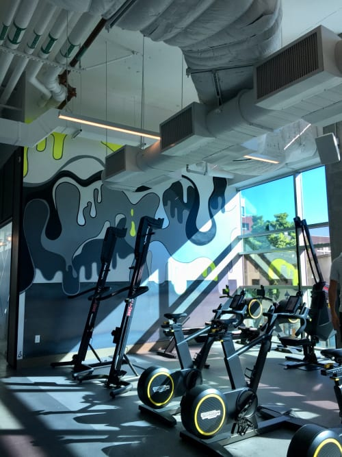 Murals by Cory Schnitzer seen at Fit Athletic Club & Gym, San Diego - Cardio Drips