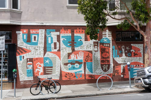 Murals by Brian Barneclo seen at 600 Divisadero St, San Francisco - NEW WRLD REALTY