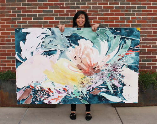 Paintings by Christina Kwan seen at COCO + MISCHA, Atlanta - Acrylic ink watercolor painting