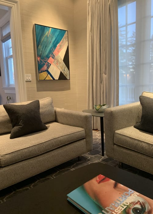 Paintings by Anelisa Calmet Studio seen at Private Residence, Scarsdale - Lounge Time