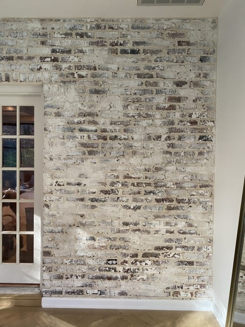 Wall Treatments by EMILY POPE HARRIS ART seen at Private Residence, Franklin - Whitewash on brick wall