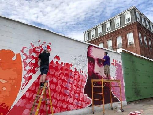 Street Murals by JALLEN Art and Design seen at Massachusetts, USA - Iver Johnson Mural, 15' x 75'.