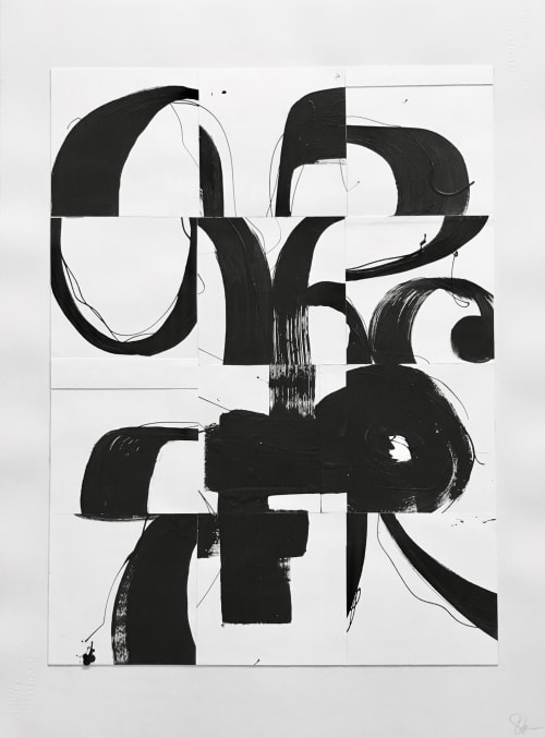 Paintings by TS ModernArt Studio seen at Private Residence - Manhattan Beach, CA, Manhattan Beach - Black and White Collage Series