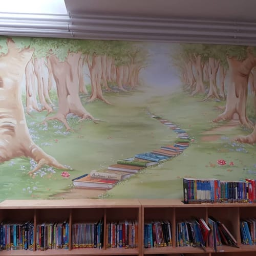 Murals by Inspire Murals seen at Private Residence, Chessington - Library Mural