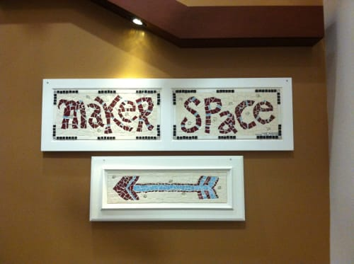 "Art & Wall Decor by Jane Glotzer seen at Louisville Public Library, Louisville - ""Maker Space: Mosaic Sign"""