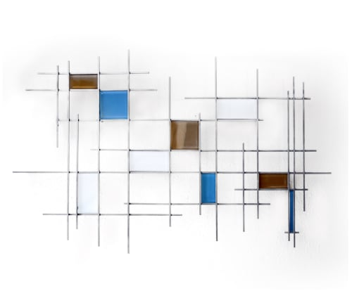 "Sculptures by Karo Studios seen at Creator's Studio, Los Angeles - ""Gridded"" Glass and Metal Wall Art Sculpture"