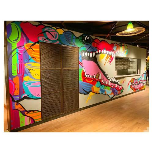 Murals by Szabotage seen at K11 MUSEA - Crocodile Mural
