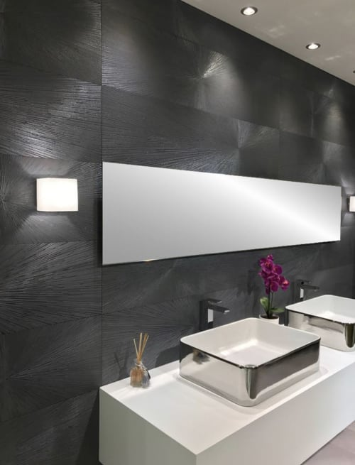 Tiles by Tile Club seen at Private Residence, New York - Ionic Steel Decor Impact A+B Rectified Porcelain Tile