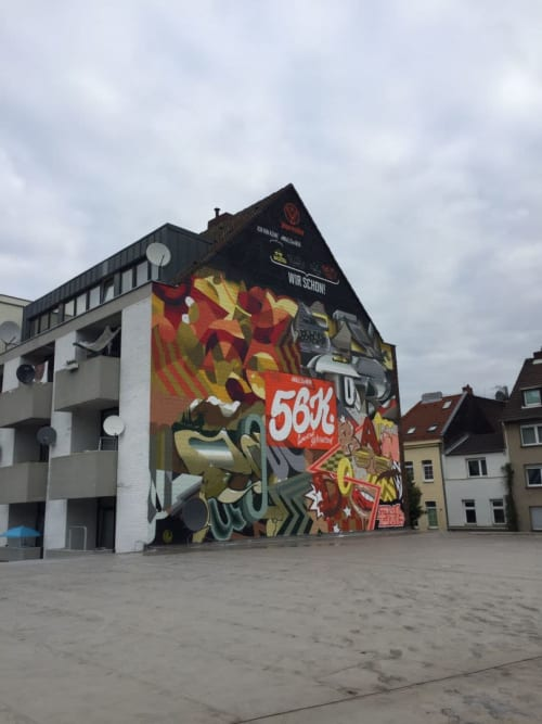 Street Murals by Semor the mad one seen at Ehrenfeld, Cologne - Jägermeister # walls of wir Köln with The Top Notch - Random EXP - Pout