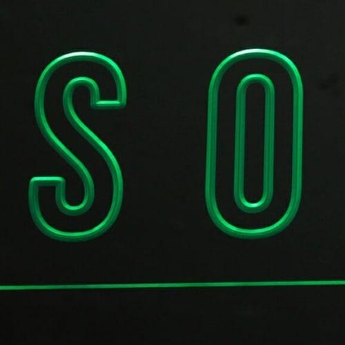 Apparel & Accessories by Deschênes Lighting / Luminaire seen at Villeray—Saint-Michel—Parc-Extension, Montreal - Panneau signalétique luminescent d'inspiration institutionnel mid-century