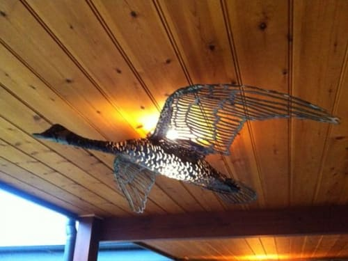 Sculptures by Richard Yates seen at Private Residence, Chewton - Canadian Geese Lighting