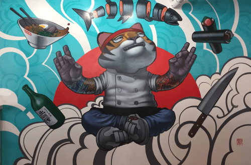 Murals by John Park seen at Ramen Roll - Culver City, Culver City - Tiger Chef 2016