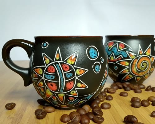 """Cups by Cupscho seen at Private Residence, Kharkiv - Pottery coffee mugs """"Esoteric"""" 6.6 fl oz (Set of 2 mugs)"""