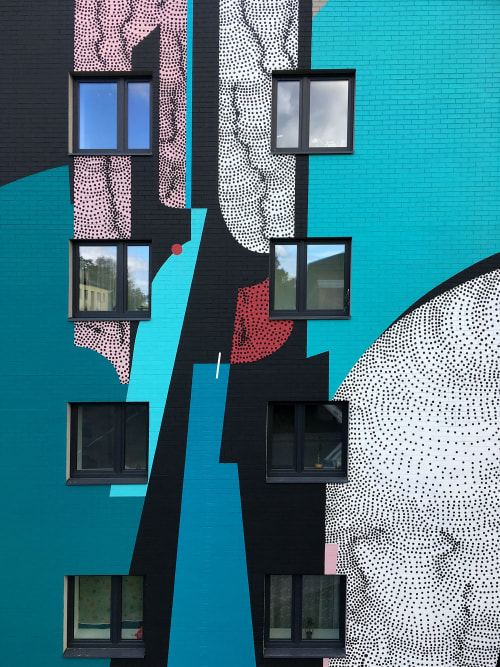 Street Murals by Anastasia Papaleonida seen at Tartu, Tartu - Mural collaboration with Robert Seikon