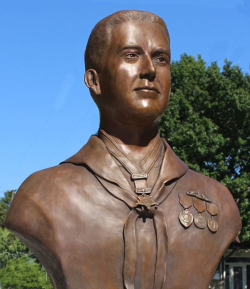 "Public Sculptures by Paula Slater Sculpture seen at Private Residence, Ludington - ""William Charette, Medal of Honor Recipient"""