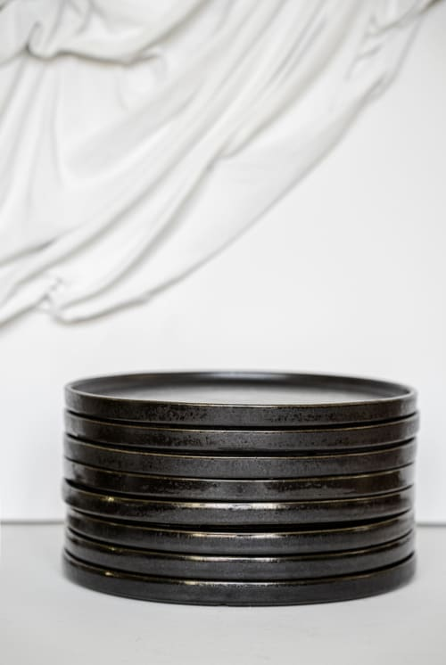 Tableware by Creating Comfort Lab seen at New York, New York - BLACK STONEWARE DINNER PLATES