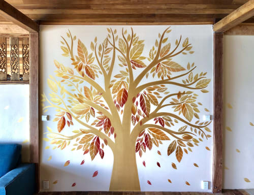 Murals by Urbanheart seen at Why Nam Beach, Tambon Ban Tai - Golden Tree Mural