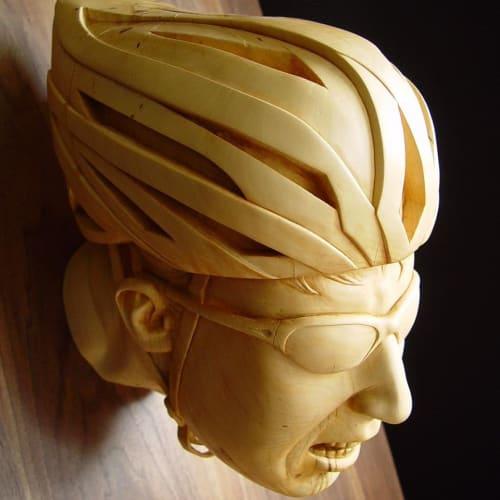 Sculptures by Steff Rocknak seen at Oneonta, Oneonta - The Biker