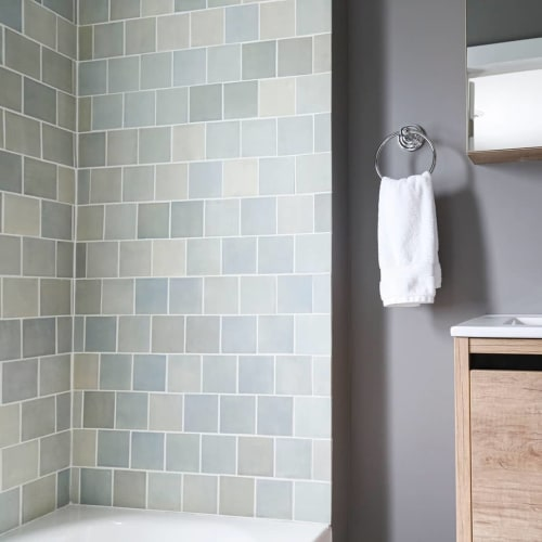"Tiles by Mercury Mosaics seen at Private Residence, Minneapolis - 4""x4"" Subway Tile"