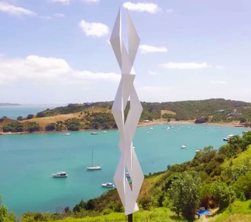 Public Sculptures by Sēmisi Fetokai Potauaine seen at Waiheke Island - Manuēsina (White Bird and White Angel)