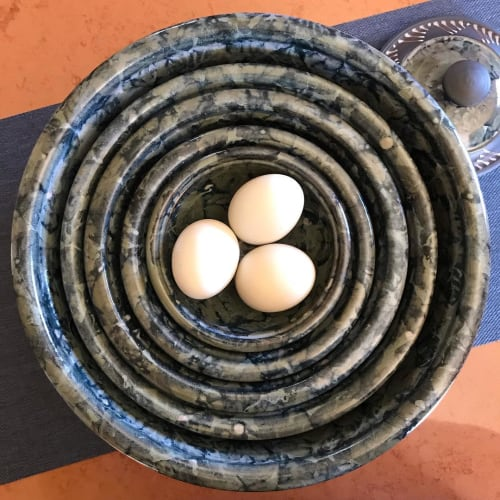 Tableware by Peter Flanagan seen at Metchosin Community Hall, Victoria - Nesting Bowls in Ash Glaze
