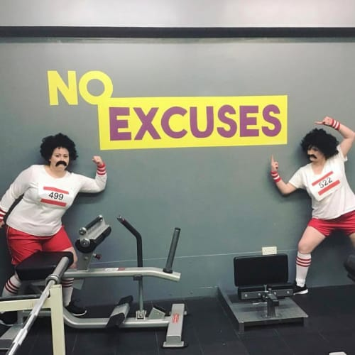 Murals by 2 Sisters seen at My Fitness Hub Havant, Havant - NO EXCUSES