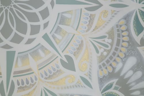 Murals by Urbanheart seen at Harbour House Yoga, Peachland - Harbour House Yoga Mandala Mural
