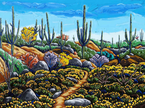 Art Curation by Neil Myers Art seen at Private Residence, Tucson - Desert Trail With Mexican Gold Poppies