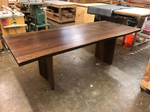 Tables by Black Rose WoodCraft seen at Private Residence, Portland - Walnut Book Match Dining Table